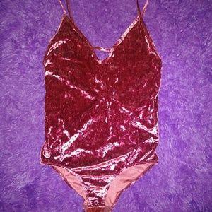 Crushed velvet bodysuit maroon size L NWOT